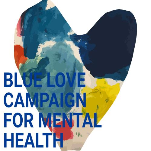 graphic heart with words blue love campaign for mental health