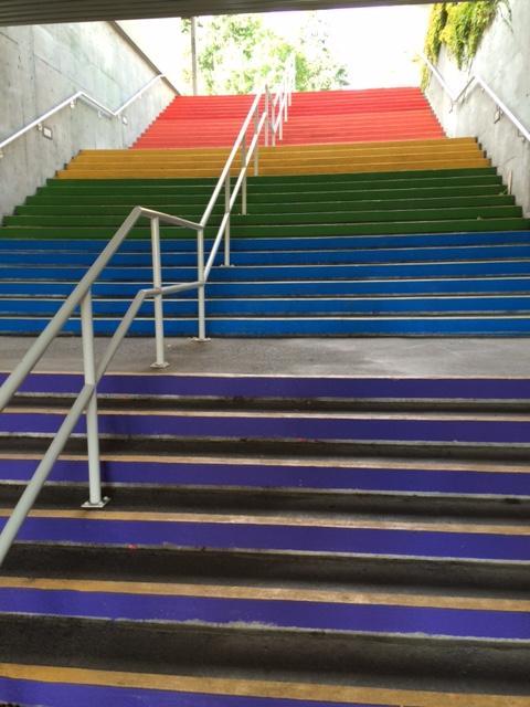 Rainbow stairs at VIU Nanaimo campus