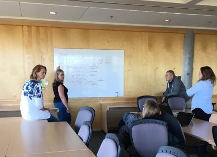 Unit4, Selkirk, and VIU employees engaged in brainstorming